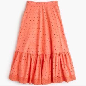 Crew Tiered Midi Eyelet Skirt in Coral